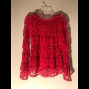 GB Girls - Long Sleeve Red Lace Blouse - Size XL